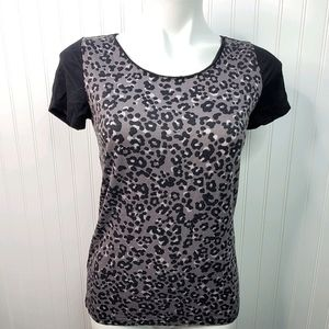 Ann Taylor Loft Leopard Print Short Sleeve Shirt